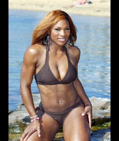 robin williams swimsuit serena shows off her toned abs in a brown bikini serena