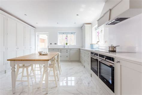 kitchen floor marble white shaker kitchen 1649