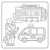 Hospital Coloring Doctor Ambulance Outline Boyama Nurse Kleurplaat Children Ambulans Pagina Hastane Overzicht Hopital Cartoon Clipart Arts Profession Colorear Coloriage sketch template