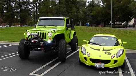Neon Green Jeep And Lotus  Would You Take In This Color