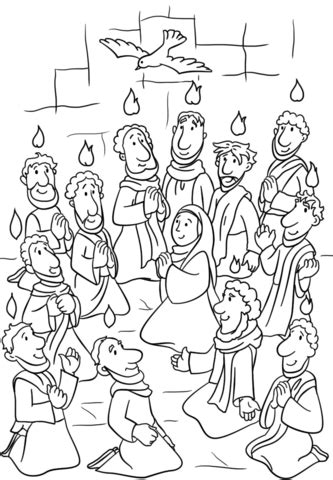descent   holy spirit  pentecost coloring page