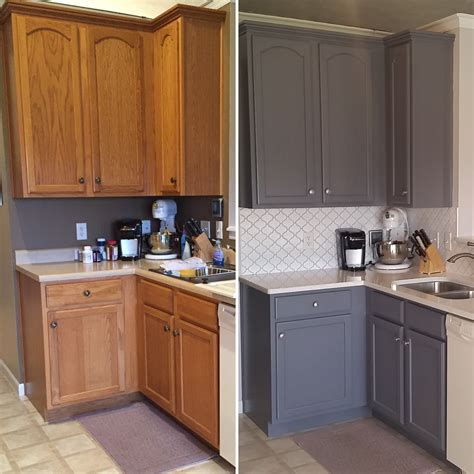 Kitchen inspiration ~ gray paint color with honey oak cabinets. Updated Oak Kitchens