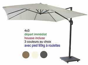 Parasol Avec Pied : parasol excentr mat d port 4x3 avec sa housse et pied 90kg 4 roulettes d part imm diat ~ Teatrodelosmanantiales.com Idées de Décoration
