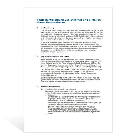 muster reglement nutzung internet und  mail