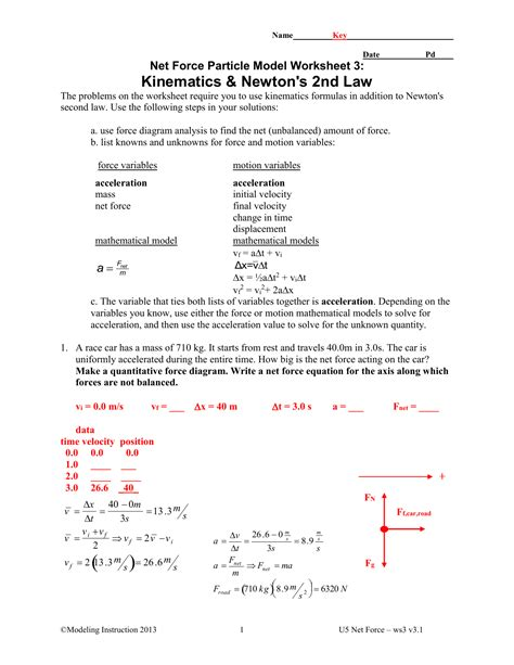 net force particle model worksheet  newton   law
