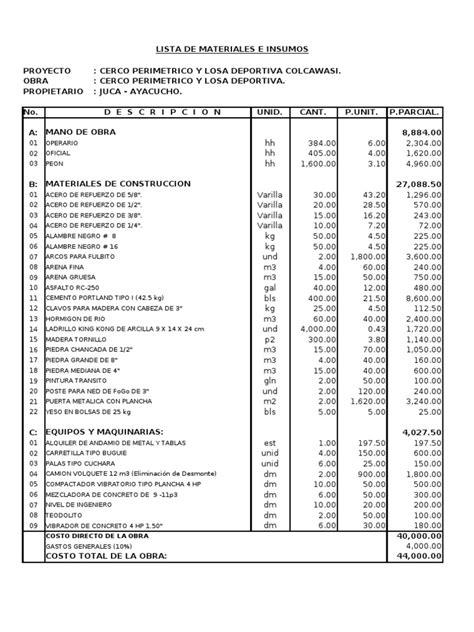 presupuesto y lista de materiales de construcci 243 n