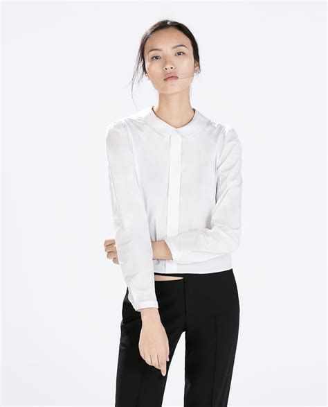 collar blouse zara blouse with pan collar in white lyst