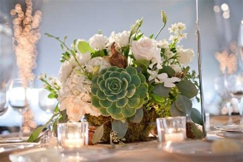 Green And White Wedding Centerpiece With Succulent In 2019