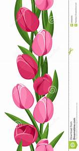 Vector Vertical Seamless Background With Tulips Stock