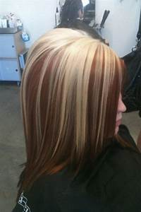 blonde and red brown highlights..very pretty.