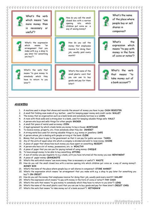 money vocabulary quiz worksheet free esl printable