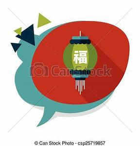 Chinese New Year Flat Icon With... - Royalty Free Vector ...