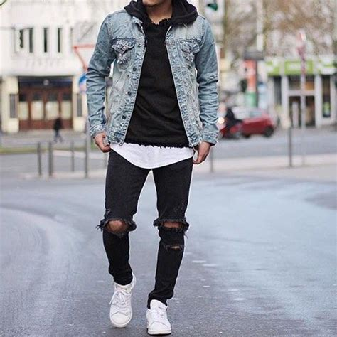 Menu0026#39;s Light Blue Denim Jacket Black Hoodie White Crew-neck T-shirt Black Ripped Jeans | Black ...