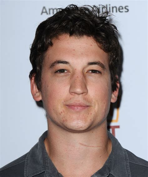 Miles Teller Short Wavy Casual Hairstyle   Dark Brunette