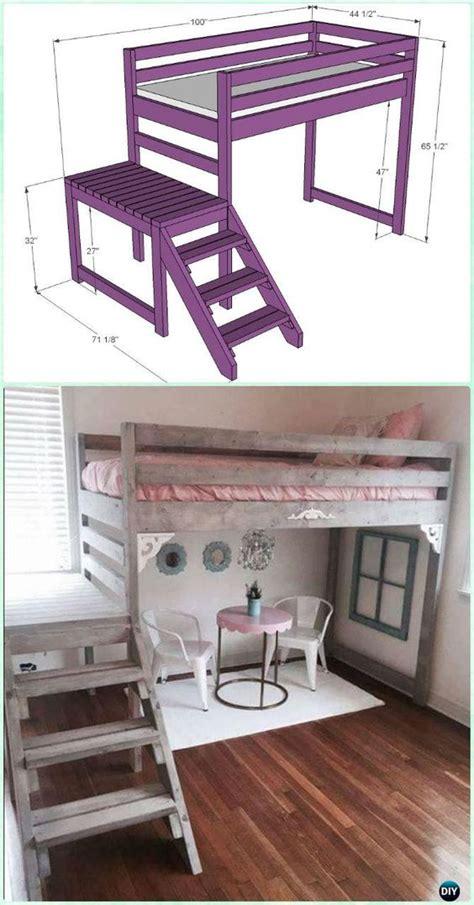 diy loft bed with desk diy kids bunk bed free plans loft furniture and planes