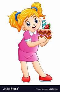 Illustration, Of, Smiling, Little, Girl, Holding, Birthday, Cake