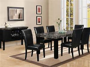 7 piece black marble dining table black dining room set With black dining room furniture sets