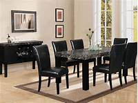 black dining room table 7 piece black marble dining table   Black Dining Room Set (Table with Faux Marble Top and 6 Side ...
