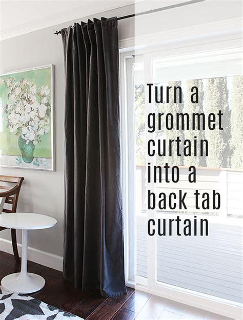turn  grommet top curtain    tab curtain
