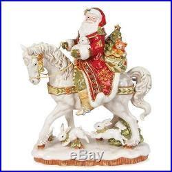 fitz floyd damask holiday christmas santa  horse