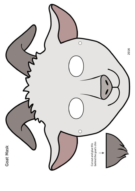 white goat mask template printable