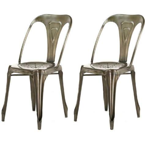 chaise industrielle metal lot de 2 chaises industrielles argent métal kirk achat
