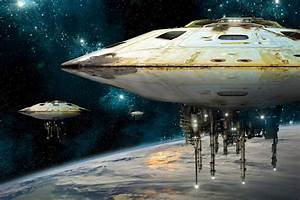 sci-fi-spaceships_hovering_above_earth - Sci-Fi Addicts