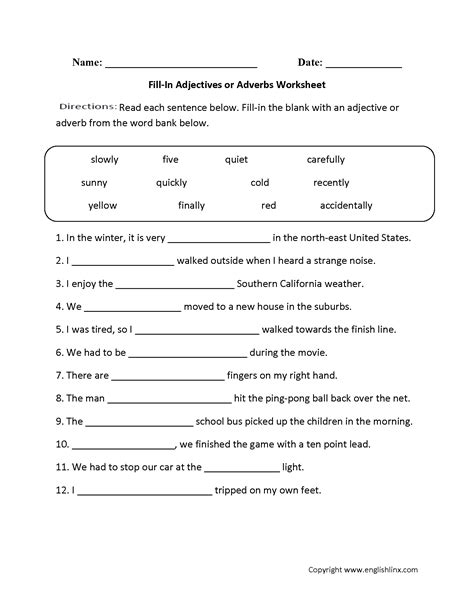 adjective worksheets for grade 4 worksheets for all