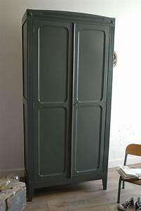 Armoire Parisienne Vintage : armoire parisienne gris ardoise vendue atelier vintage ~ Teatrodelosmanantiales.com Idées de Décoration