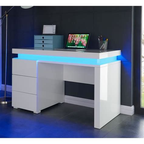 grand bureau informatique flash bureau contemporain blanc brillant l 120 cm