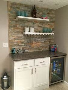Cmh builders wet bar with floating shelves on stacked for Kitchen cabinets lowes with hanging heavy wall art