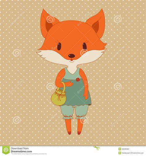 retro fashion fox stock vector illustration  cartoon