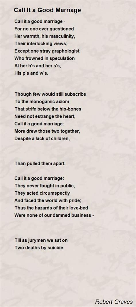 call   good marriage poem  robert graves poem hunter