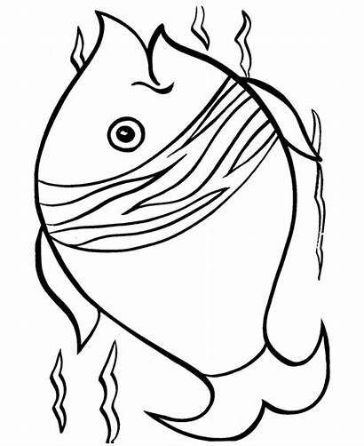 Coloring Fish Easy Pages Simple Printable Drawing