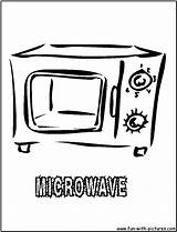 Oven Coloring Kitchen Microwave Printable Colouring Template sketch template