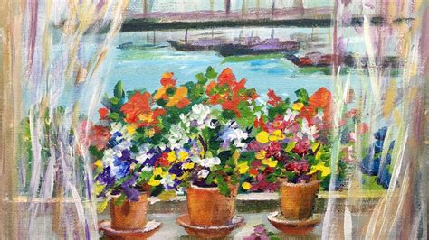 Garden Tutorial by How To Paint A Window Garden By The Sea With Cook