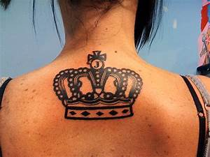 Cool Crown Tattoo for Asian Girls Back Neck - ShePlanet