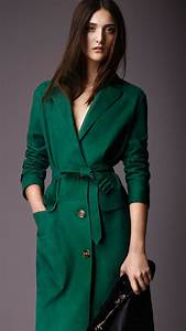 burberry lambskin trench coat in teal green green lyst