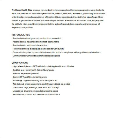 Home Health Aide Description For Resume by 7 Sle Home Health Aide Resumes Sle Templates
