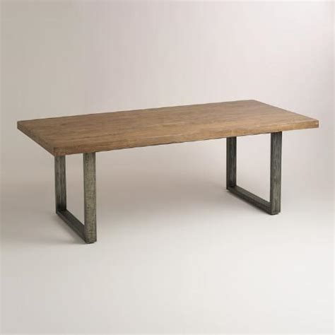 wood steel dining table wood and metal edgar dining table world market