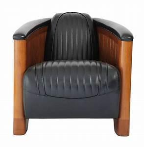 Fauteuil Cuir Noir : fauteuil club canoe en cuir noir ~ Melissatoandfro.com Idées de Décoration