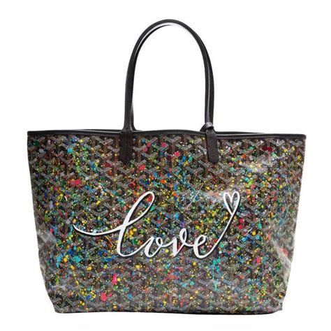 goyard customized black splattered paint love monogram st louis pm bag goyard bag goyard