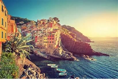 Italy Terre Cinque Landscape Sea Cityscape Boat