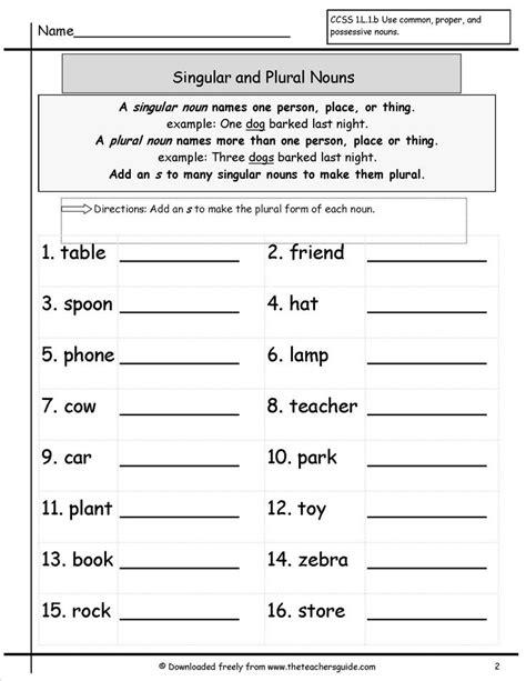 singular  plural nouns worksheets   teachers