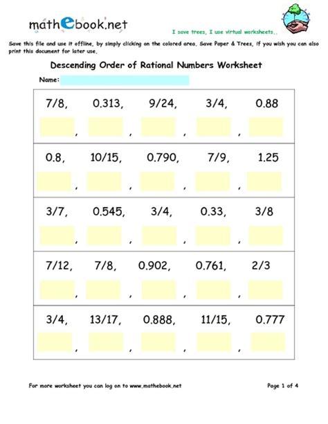 descending order  rational numbers worksheets worksheet