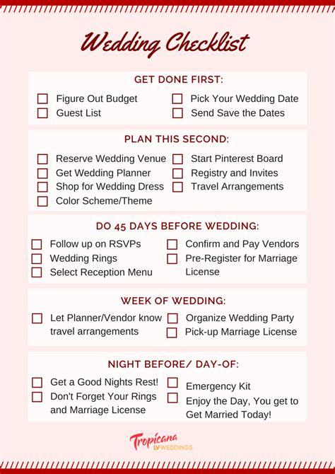 wedding planning checklist   stress  day