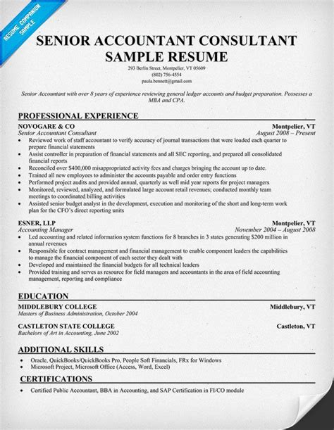 resume for an accountant senior accountant consultant resume samples across all