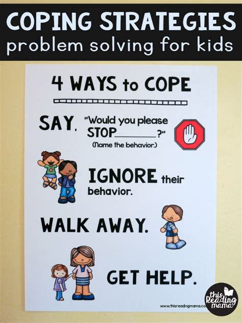 coping strategies free problem solving chart for 473 | Coping Strategies Problem Solving for Kids FREE Poster from This Reading Mama