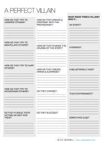 villains writing worksheet wednesday writing tips