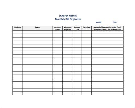 bill organizer template 5 sle bill organizer charts sle templates